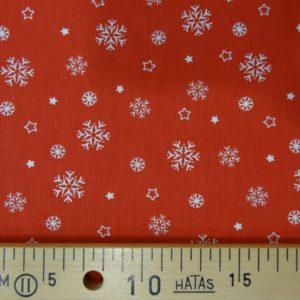 Flocons blancs sur fond rouge par 10cm