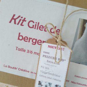 Kit Gilet de berger bio  3/6 mois  doublure rose poudré