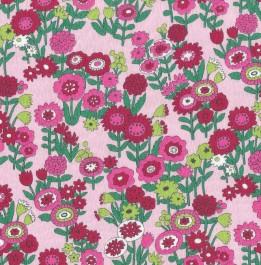 Tissu fleuri rose