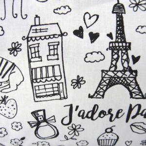Tissu à colorier (ou pas!) J'adore Paris
