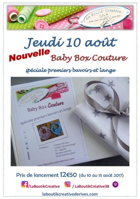 Baby Box Couture premiers bavoirs et tissu langes - Promo 10 au 15 août