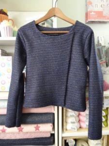 Perfecto de Mylène en lainage bleu nuit 1
