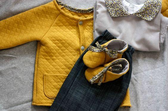 Veste et chaussons jersey matelassé france duval banane