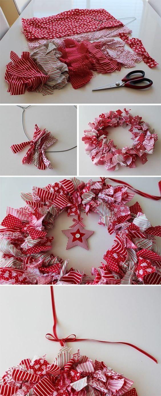 Couronne de Noël en tissu recyclage