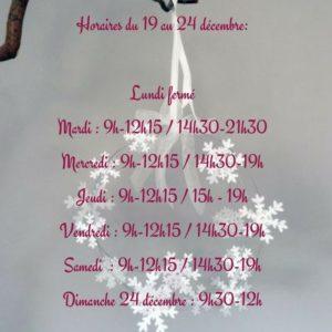 Horaires du 19 au 24 décembre