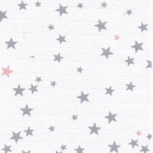 Tissu lange étoiles grises et rose poudré (x10cm)
