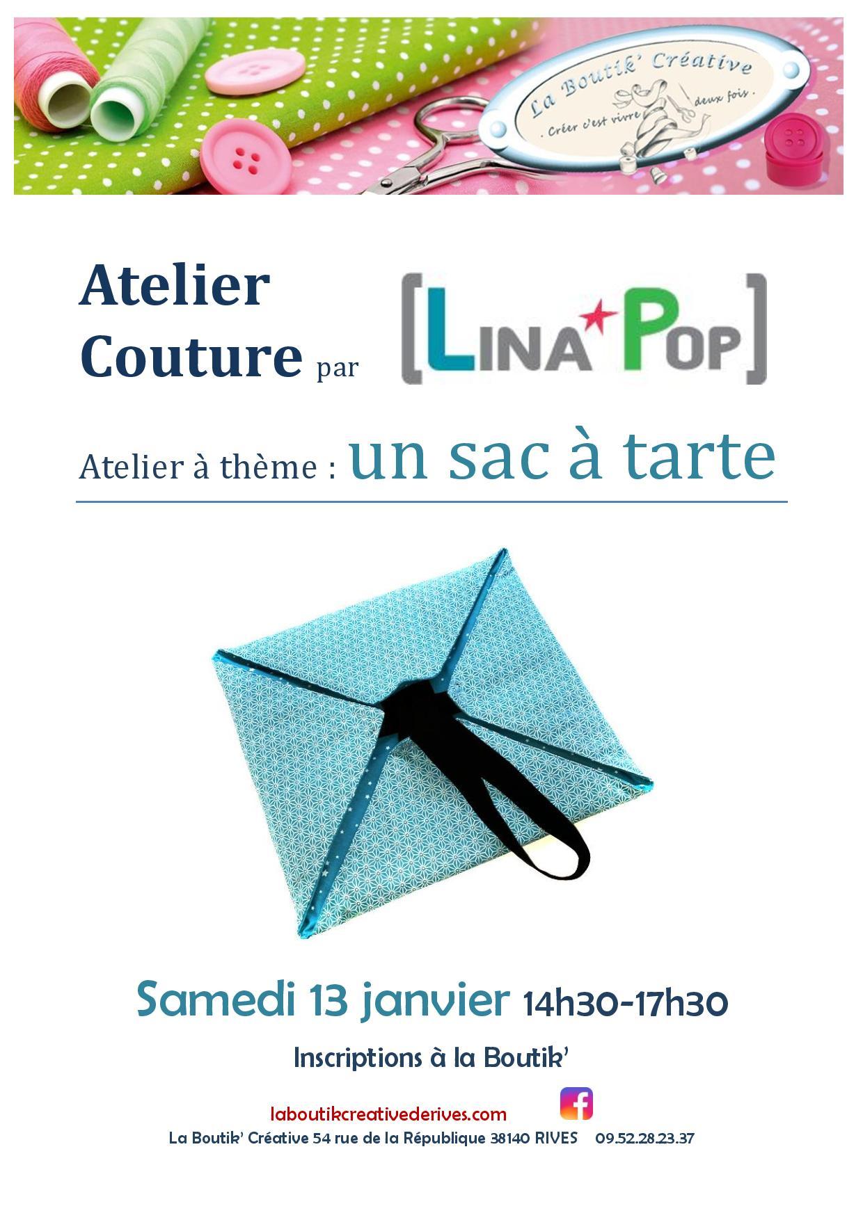 Affiche de l atelier couture sac à tarte 13 janvier