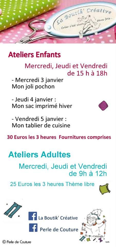 Flyer Perle de couture cours de couture 1ere semaine de janvier