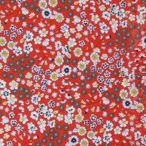Tissu Frou-Frou fleuri coquelicot (x10cm)