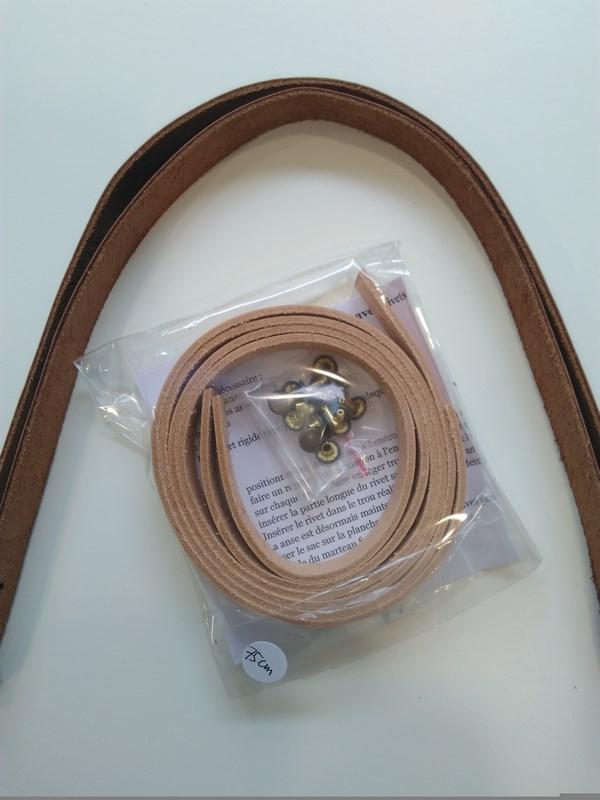 Anse Camélir cuir Beige rosé 75cm