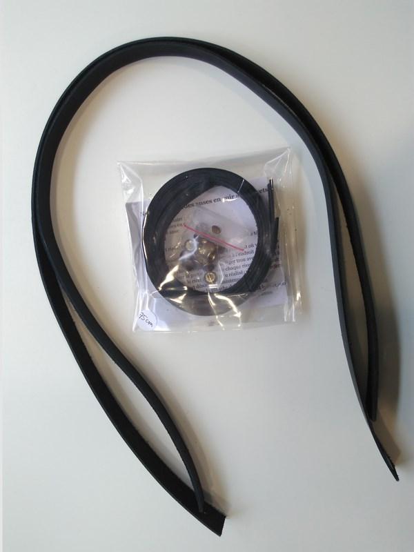 Anse cuir Camélir Noir 75cm