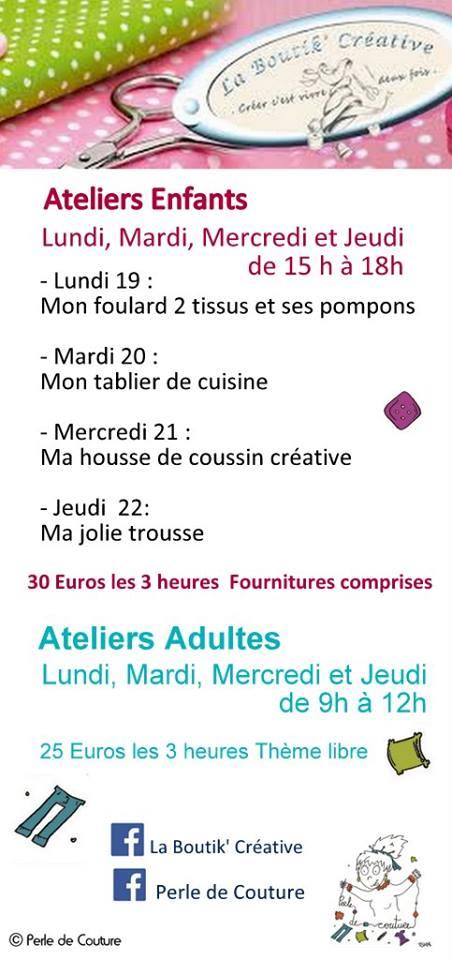 Programme des cours de couture à la Boutik Créative vacances de février