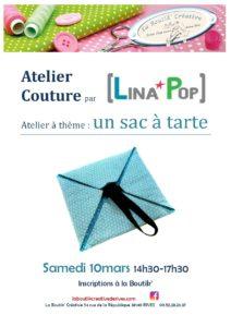 Affiche de l atelier couture sac à tarte 10 mars