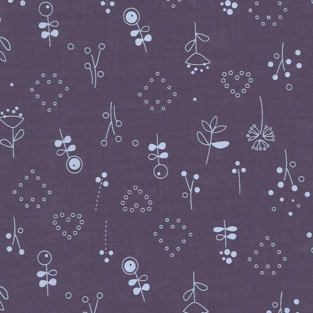 Percale de coton Froufrou violet sage coeur et fleurs