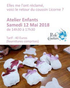 Atelier Perle de Couture Coussin licorne du 12 mai après midi