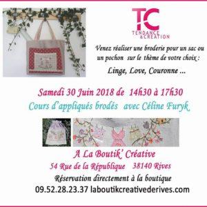 Cours broderie Céline Furyk du 30 juin 2018