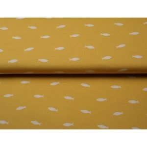 Tissu jersey imprimé petits poissons (x10cm)