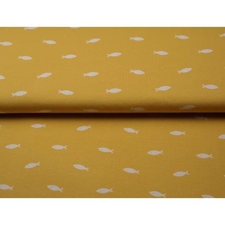 Tissu jersey imprimé Stenzo fishes blanc sur fond jaune
