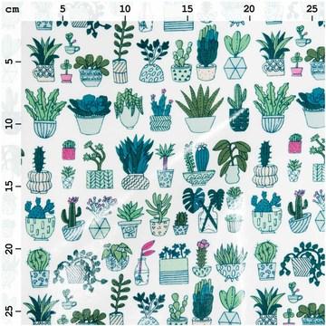 Tissu enduit hygge plantes et cactus en pot RICO D