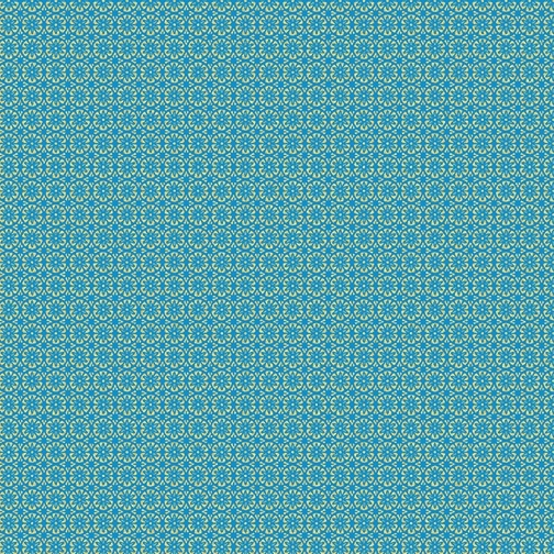 Mini Floral Foulard Turquoise et doré