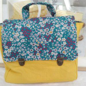 kit cartable toile jaune et tissu fleuri turquoise