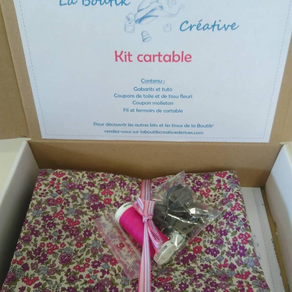 Kit Cartable Toile Rose et tissu FrouFrou fleuri