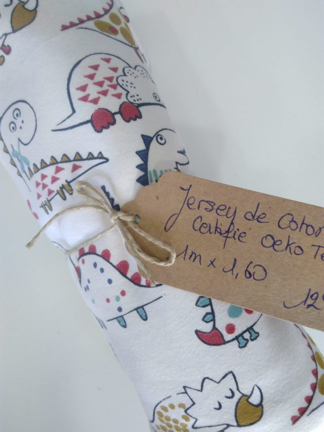 Jersey de coton les dinosaures coupon 1 metre La Boutik Créative de Rives
