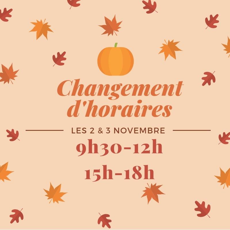 Horaires 2 et 3 novembre à la Boutik Creative de Rives