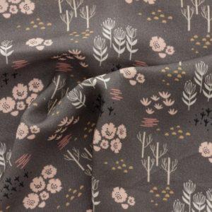 Tissu rayonne roses anciens et pointe de moutarde sur fond taupe (x 10cm)