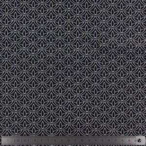 Popeline de coton noire imprimée (x10cm)