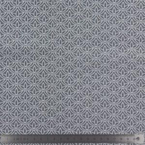 Popeline de coton gris imprimée (x10cm)