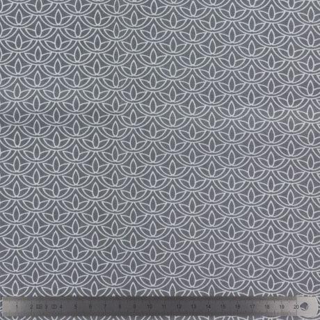 Popeline Stenzo GRIS 100% coton imprimé fleurs de lotus