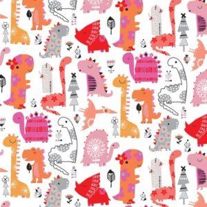 Tissu  coton playtime dinosaures (10cm)