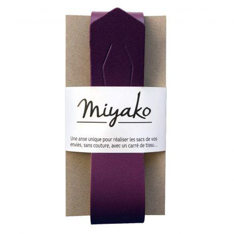 Anse de sac Miyako en cuir prune