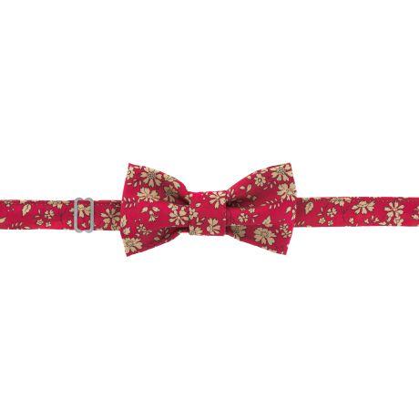 Kit noeud papillon en tissu Liberty rouge 2