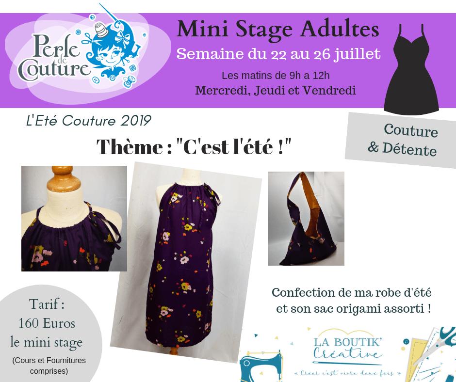 Mini stage couture adulte 24 au 26 juillet