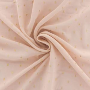 Tissu France Duval viscose rose poudré plumetis or (x10cm)