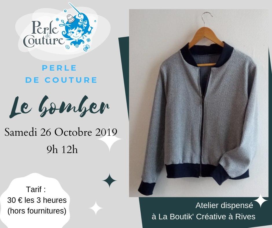 Atelier Bomber Perle de couture 26 octobre 2019 à la Boutik Creative de Rives