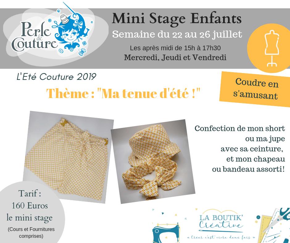 Mini stage couture enfant du 22 au 26 juillet