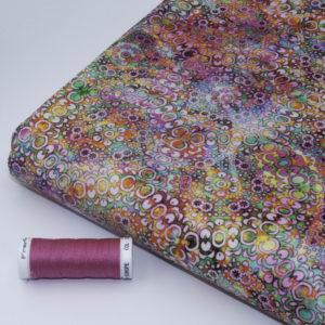 tissu batik feu Perle d'eau rose (x10cm)