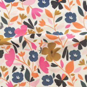 Tissu viscose champs de fleurs (x 10cm)