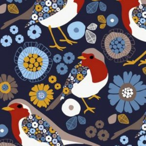 Tissu sweat léger motifs oiseaux et fleurs fond bleu(x10cm)