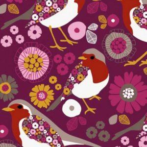 Tissu sweat léger motifs oiseaux et fleurs fond rose (x10cm)