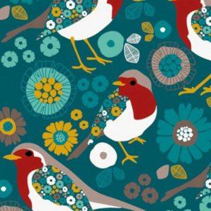 Tissu sweat léger motifs oiseaux et fleurs fond Vert (x10cm)