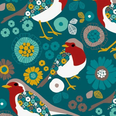 tissu-sweat-leger-motifs-oiseaux-et-fleurs-fond-vert