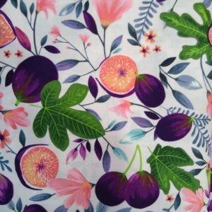 Tissu coton Figues et fleurs (x10cm)