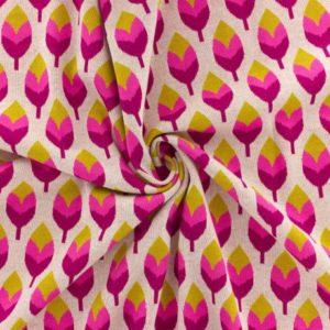 Tissu Jacquard  Grove Anis et Rose (x10cm)