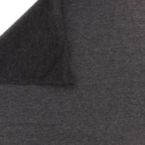 Tissu sweat coton gris foncé chiné