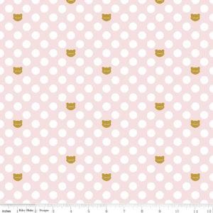Tissu coton Gold Cats à pois roses