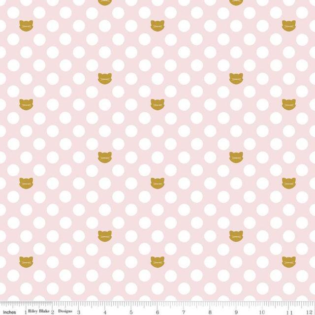 Tissu-coton-Gold-Cats-PINK-dots